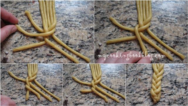 Как се плете триизмерна плитка от тесто с 5 възела