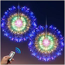 Instalatie tip artificii 120 LED, cu telecomanda, Multicolor
