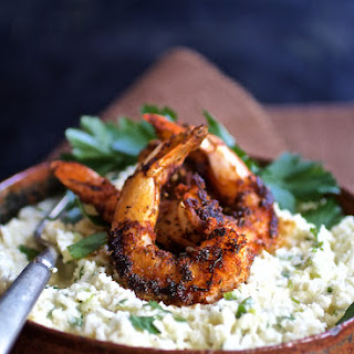 Cauliflower Grits with Gouda Cheese and Blackened Shrimp.