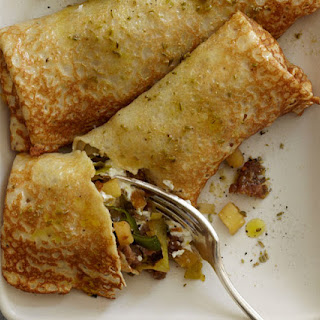 Leek, Apple, Fennel Sausage, and Goat Cheese Crêpes