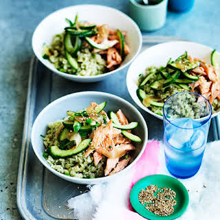 Matcha Rice With Smoked Trout, Cucumber And Pickled Ginger.