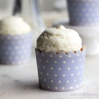 Low Carb Vanilla Buttermilk Cupcakes with Cream Cheese Frosting.
