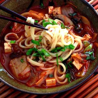 Spicy Korean Kimchi & Tofu Noodle Soup.
