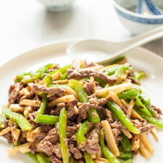 Chinjao Rosu (Japanese Stir Fry with Beef and Bamboo Shoots).