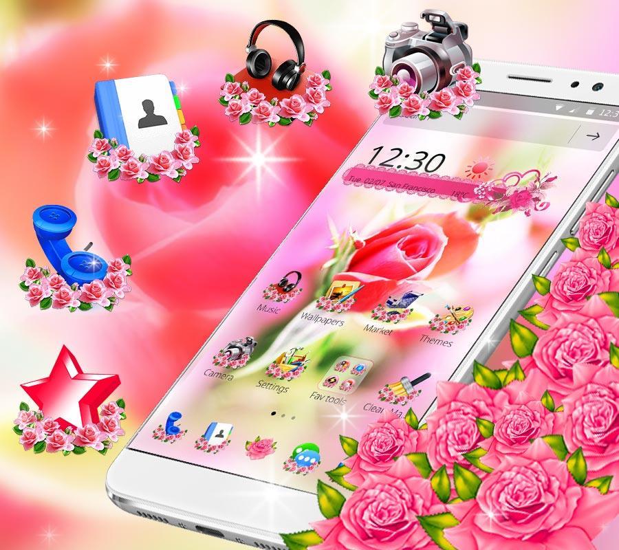 Pink Rose Flower Love Launcher Screenshot