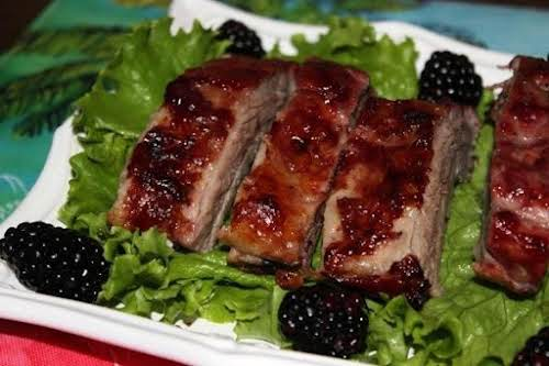 "Click Here for Recipe: Blackberry-Honey Ribs ""Yum! These are really good ribs...."