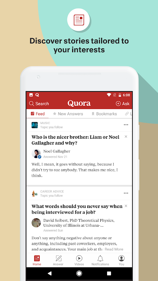 Screenshots of Quora for iPhone