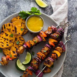 Chili Lime Chicken Skewers with Mango Sauce.