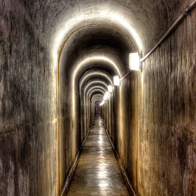 HDR Tunnel by Roger Fanner - Buildings & Architecture Public & Historical ( eerie, roger fanner, nagle dam, nagle dam tunnel, long, dank, tunnel )