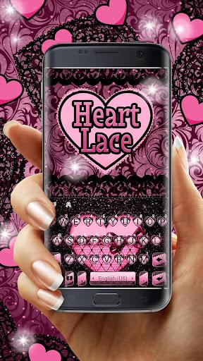 Pink Lace Heart Keyboard Theme screenshots 1