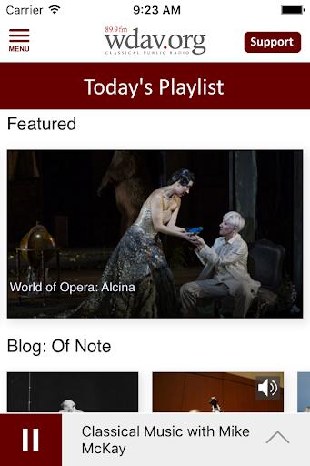 wdav classical public radio app screenshot 2