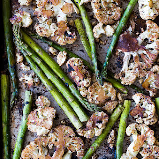 Oven Roasted Cauliflower Steaks with Black Garlic and Asparagus Recipe