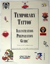 Photo: This is the front cover of a brochure I created for a local company that manufactures rub-on tattoos. As part of my job at the commercial printer, I vectorized all the cartoons on this page and designed and produced the entire brochure.