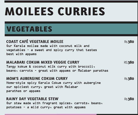 Coast Cafe menu 1