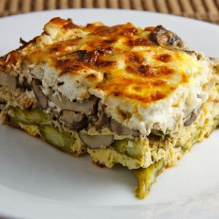 Asparagus, Mushroom and Goat Cheese Egg Breakfast Casserole.