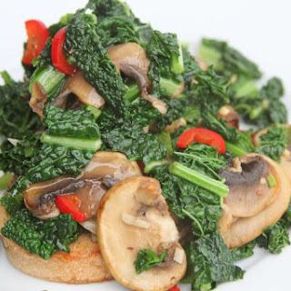 Kale, Mushrooms and Chilli on Sourdough Toast