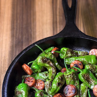 Blistered Padrón or Shishito Peppers with Chorizo and Smoked Sea Salt