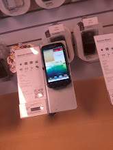 Photo: Photon in store, while we couldn't pick it up we were still able to play with the screen and get a good idea of resolution and functionality. Contract price was that same 99.99 as other similar phones.