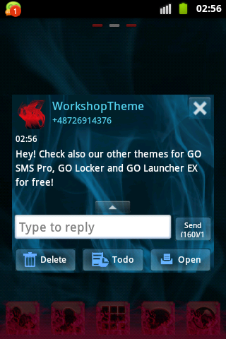 Blue Smoke Theme GO SMS PRO- screenshot