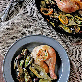 Roasted Chicken with Baby Artichokes and Olives
