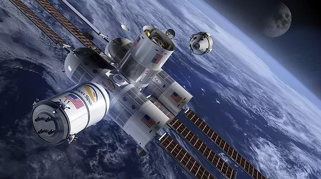 An artist's impression of the Aurora Space Station in orbit.