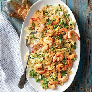 Shrimp and Peas with Farfalle.