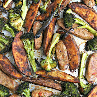 Italian Sausage, Broccoli Spears and Paprika Potato Wedges Sheet Pan Dinner.