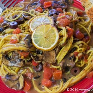 Oven Cooked Mediterranean Mushroom Spaghetti