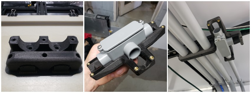 A junction bracket designed and 3D printed for this specific configuration.