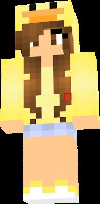 uma menina com ujm casaco de pato shorts jeans e tenis com cor amarela animal preferido e pato
