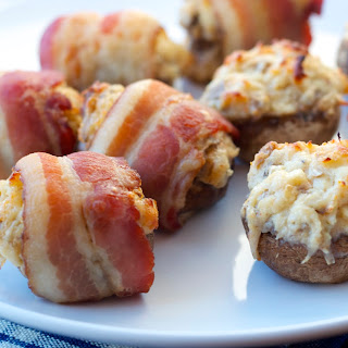Bacon Wrapped Crab Stuffed Mushrooms.