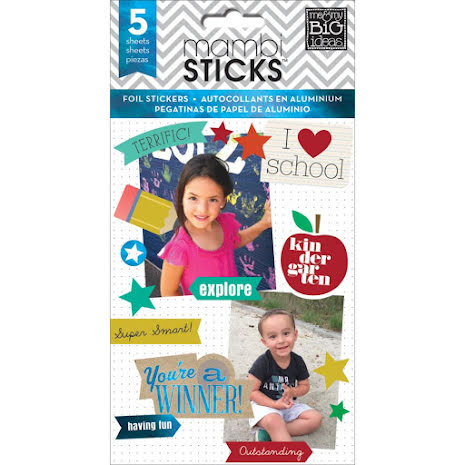 Me & My Big Ideas Pocket Pages Foil Stickers 6 Sheets/Pkg - I Heart School