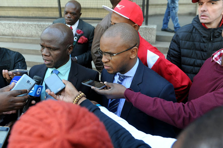 PSL's legal representative Denis Sibuyi outside the South Gauteng High Court.