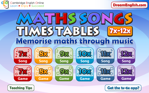 Maths Songs Times Tables 7-12x