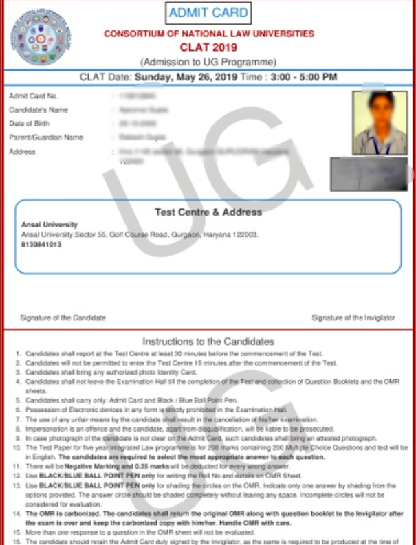 CLAT Admit Card 2021