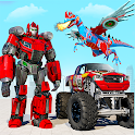 Flying Dino Robot : Monster Truck Police Car Game icon