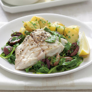 Grilled Fish with Spinach and Olives.