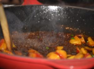 Make the hot pepper jelly by heating the marmalade or jam in a pan...