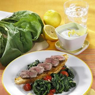 Pan Fried Lamb with Sauteed Spinach and Lemon Yogurt