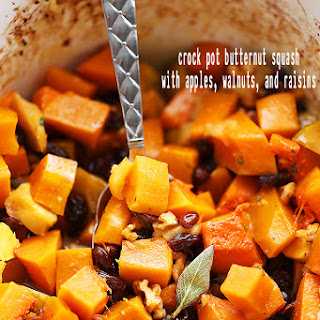 Crock Pot Butternut Squash with Apples, Walnuts and Raisins Recipe