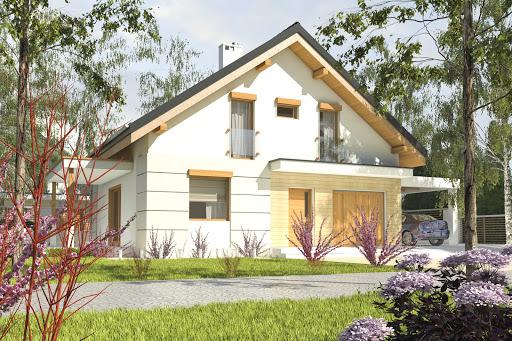 projekt Nowinka V z garażem i wiatą A1
