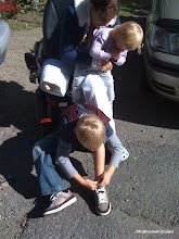 Photo: The first thing Isaac HAD to show me was that he could tie shoe laces.  I am so proud of him.