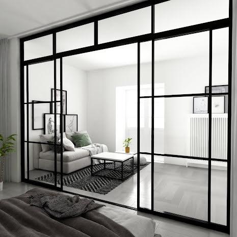 Skjutdörr 2 dörrar + 2 väggar ovanliggare svart