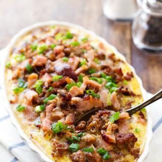 Ham and Sausage Hash Brown Egg Bake Recipe
