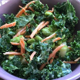 Pear Kale Salad with Tahini Miso Dressing