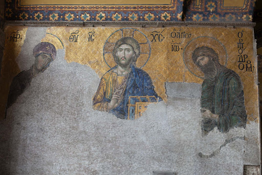jesus.jpg - A relief of Jesus Christ and two of the apostles inside Istanbul's Hagia Sophia in Istanbul, built in the 6th century A.D. as a Greek Orthodox church.