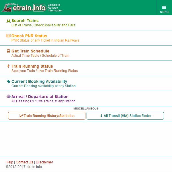 Indian Railways Etrain Info Android Apps On Google Play