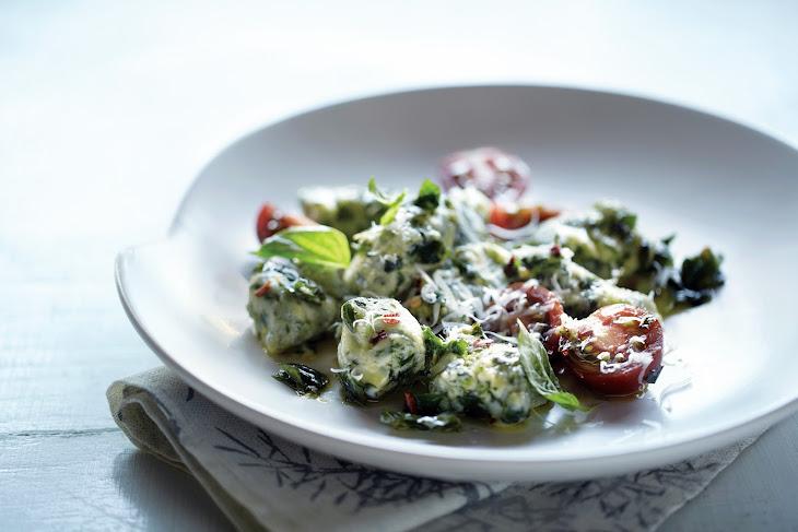 Spinach Gnocchi with Garlic Basil Oil