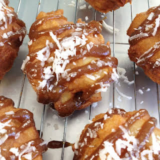 Coconut Apple Fritters with Dairy-Free Dulce de Leche.