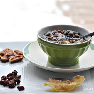 Chia Pudding with Pecans, Raisins and Candied Ginger.
